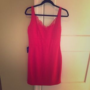 NWT Medium Red Express Dress with Lace